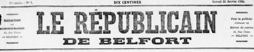 Photo (BnF / Gallica) de : Le Républicain de Belfort. Belfort, 1926-1935. ISSN 2136-2459.