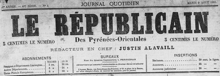 Photo (Médiathèque (Perpignan)) de : Le Républicain des Pyrénées-Orientales. Perpignan, 1876-1910. ISSN 2136-3854.