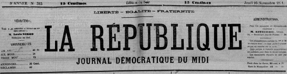 Photo (Hérault. Archives départementales) de : La République. Montpellier, 1871-1879. ISSN 2136-4982.