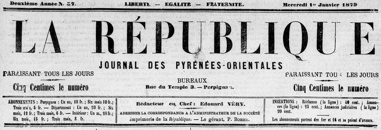 Photo (Médiathèque (Perpignan)) de : La République. Perpignan, 1878-1879. ISSN 2136-4990.