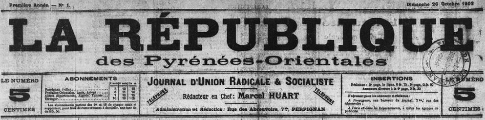 Photo (Médiathèque (Perpignan)) de : La République des Pyrénées-Orientales. Perpignan, 1902-1906. ISSN 2136-5490.