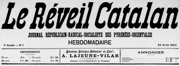 Photo (Médiathèque (Perpignan)) de : Le Réveil catalan. Perpignan, 1907. ISSN 2136-6926.