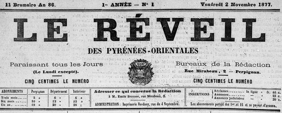 Photo (Médiathèque (Perpignan)) de : Le Réveil des Pyrénées-Orientales. Perpignan, 1877-1878. ISSN 2136-9402.