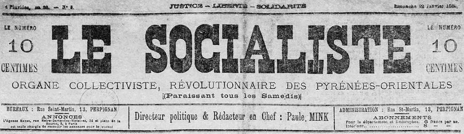 Photo (Médiathèque (Perpignan)) de : Le Socialiste. Perpignan, 1881-[1882 ?]. ISSN 2138-1542.