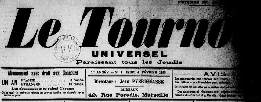 Photo (BnF / Gallica) de : Le Tournoi universel. Marseille, 1892. ISSN 2138-7494.