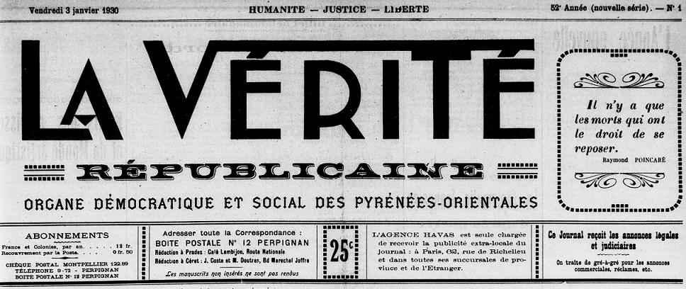Photo (Médiathèque (Perpignan)) de : La Vérité républicaine. Perpignan, 1929-[1936 ?]. ISSN 2139-8348.
