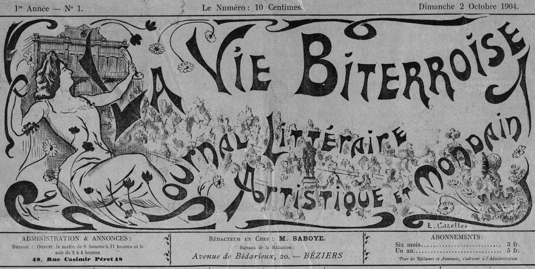 Photo (Hérault. Archives départementales) de : La Vie biterroise. Béziers, 1904-[1942 ?]. ISSN 2018-7114.