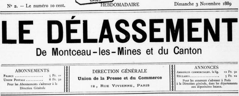Photo (BnF / Gallica) de : Le Délassement de Montceau-les-Mines et du canton. Paris, 1889. ISSN 1146-917X.