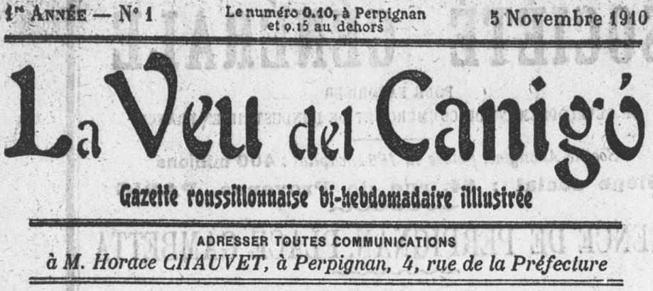 Photo (Médiathèque (Perpignan)) de : La Veu del Canigó. Perpignan: Horace Chauvet, 1910-1914. ISSN 2431-0522.