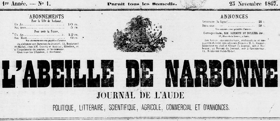 Photo (Occitanie) de : L'Abeille de Narbonne. Narbonne, 1867-1870. ISSN 2120-0548.