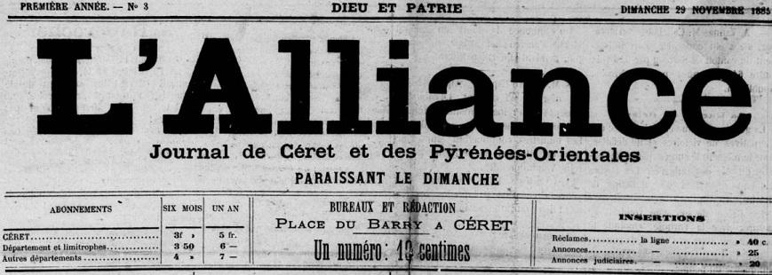 Photo (Occitanie) de : L'Alliance. Céret, 1885-1929. ISSN 2120-5736.