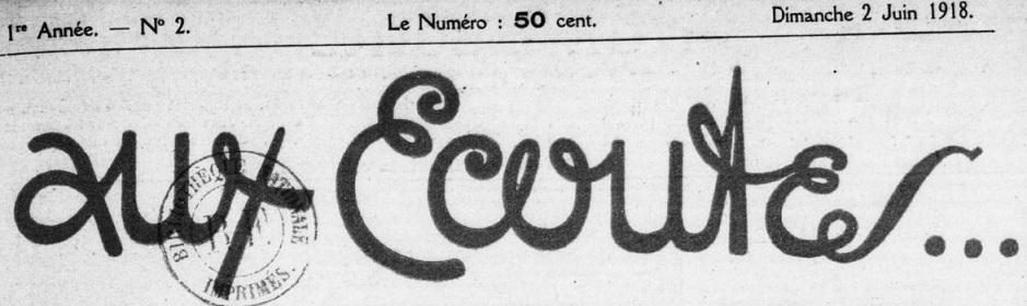 Photo (BnF / Gallica) de : Aux écoutes. Paris, 1918-1940. ISSN 1149-8595.