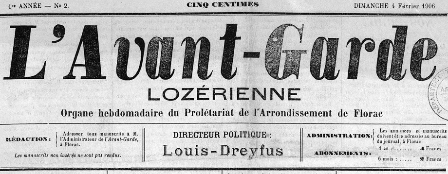 Photo (Occitanie) de : L'Avant-garde lozérienne. Florac, 1906-[1918 ?]. ISSN 2121-2511.