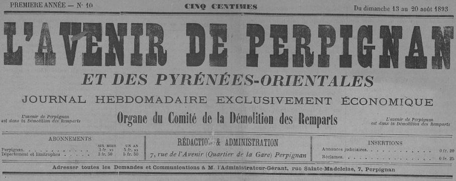 Photo (Occitanie) de : L'Avenir de Perpignan et des Pyrénées-Orientales. Perpignan, 1893-1894. ISSN 2121-5189.