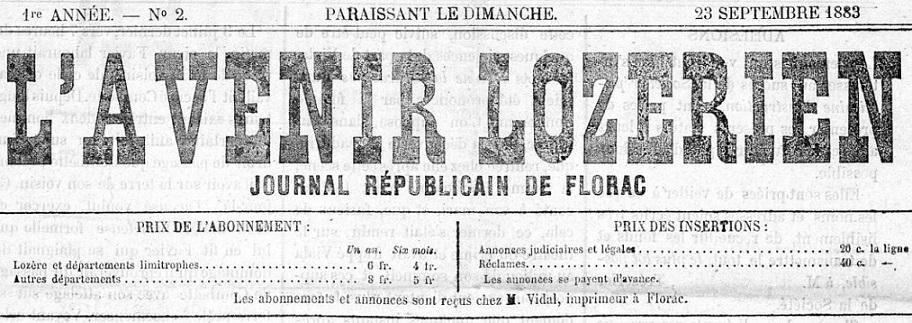 Photo (Occitanie) de : L'Avenir lozérien. Florac, 1883-1894. ISSN 2121-6452.