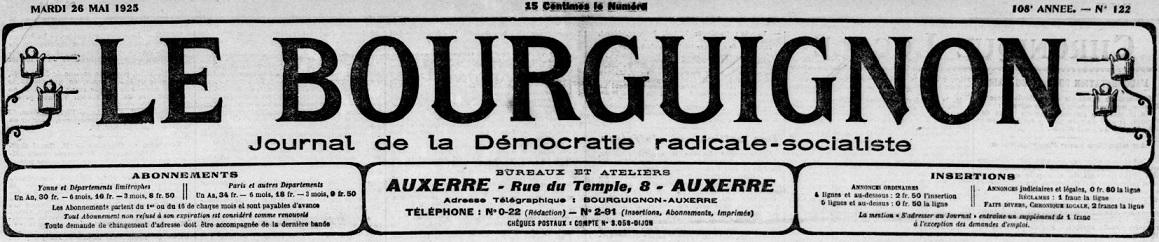 Photo (BnF / Gallica) de : Le Bourguignon. Tonnerre, 1871-1944. ISSN 2122-2193.