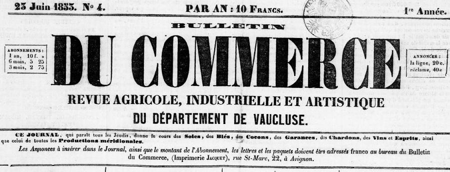 Photo (BnF / Gallica) de : Bulletin du commerce. Avignon, 1853-1854. ISSN 1267-5288.