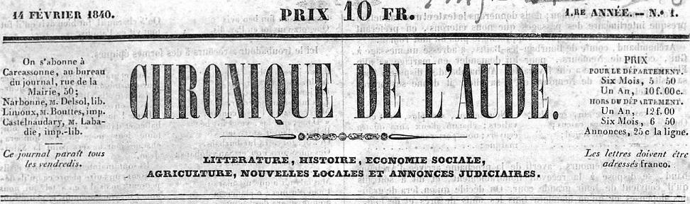 Photo (Occitanie) de : Chronique de l'Aude. Carcassonne, 1840. ISSN 2123-762X.