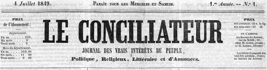 Photo (Occitanie) de : Le Conciliateur. Carcassonne: Polère, 1849-1852. ISSN 2124-2992.