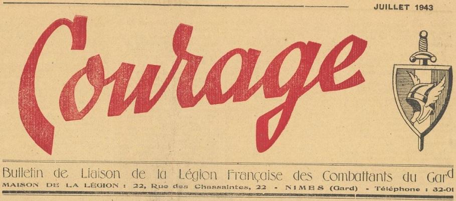 Photo (BnF / Gallica) de : Courage. Nîmes, 1943-1944. ISSN 2124-6149.