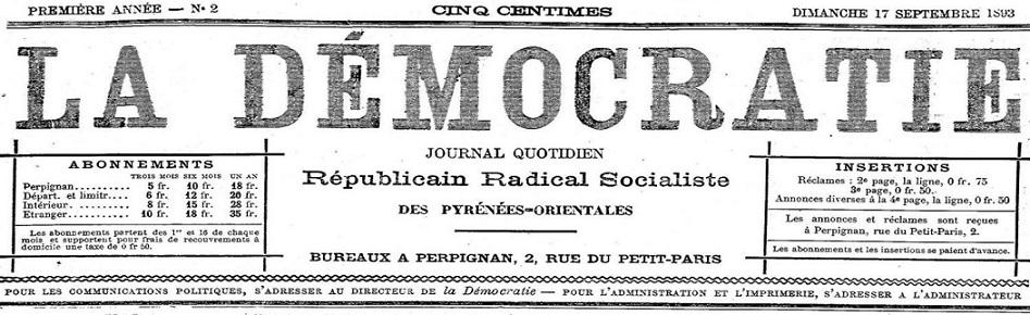 Photo (Occitanie) de : La Démocratie. Perpignan, 1893-1895. ISSN 2125-6276.