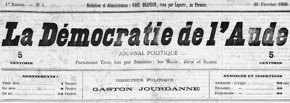Photo (Occitanie) de : La Démocratie de l'Aude. Carcassonne, 1888-1904. ISSN 2125-6586.