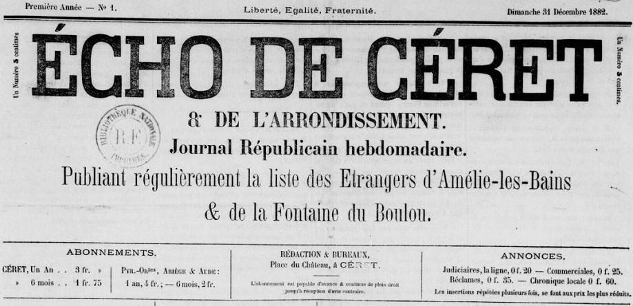 Photo (Occitanie) de : Écho de Céret & de l'arrondissement. Céret, 1882-1918. ISSN 2126-158X.