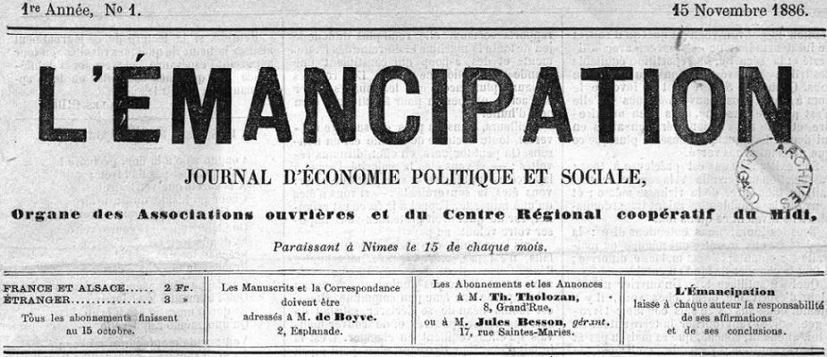 Photo (Occitanie) de : L'Émancipation. Nîmes, 1886-1932. ISSN 1155-6455.