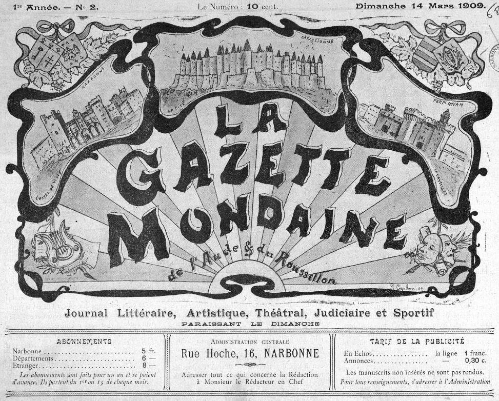 Photo (Occitanie) de : La Gazette mondaine de l'Aude et du Roussillon. Narbonne, 1909. ISSN 2128-7910.
