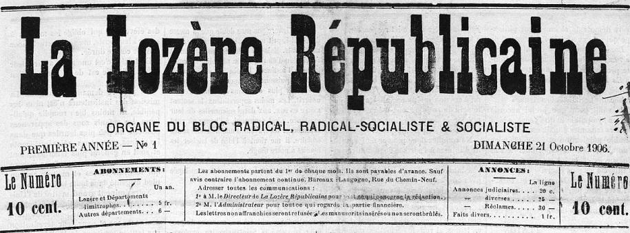 Photo (Occitanie) de : La Lozère républicaine. Langogne, 1906-1919. ISSN 2131-5841.