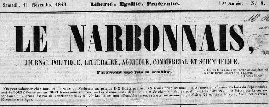 Photo (Occitanie) de : Le Narbonnais. Narbonne, 1849-1850. ISSN 2132-7416.