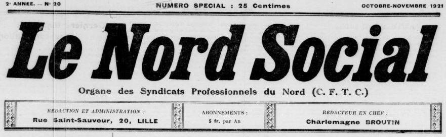 Photo (BnF / Gallica) de : Le Nord social. Lille, 1920-[1967 ?]. ISSN 2132-9168.