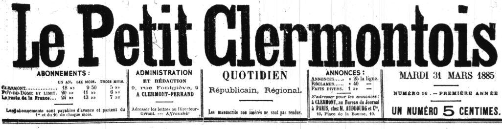 Photo (BnF / Gallica) de : Le Petit Clermontois. Clermont-Ferrand, 1885-1894. ISSN 2134-048X.