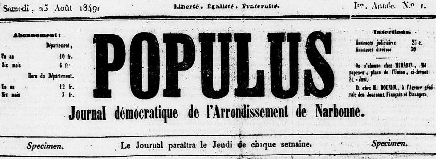 Photo (Occitanie) de : Populus. Narbonne, 1849-1850. ISSN 2135-1457.