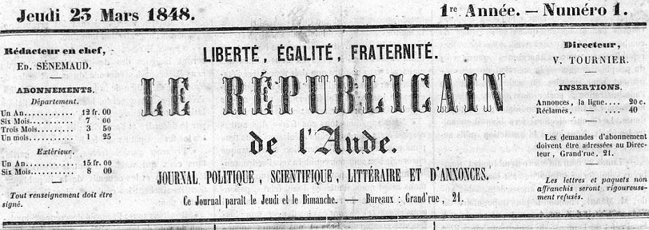 Photo (Occitanie) de : Le Républicain de l'Aude. Carcassonne, 1848. ISSN 2136-2874.