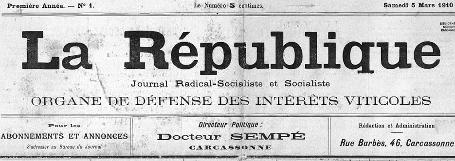 Photo (Occitanie) de : La République. Carcassonne, 1910. ISSN 2136-5067.