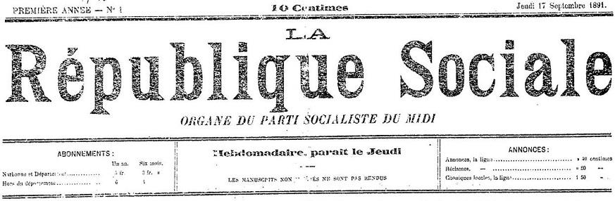 Photo (Occitanie) de : La République sociale. Narbonne, 1891-1940. ISSN 2136-5954.