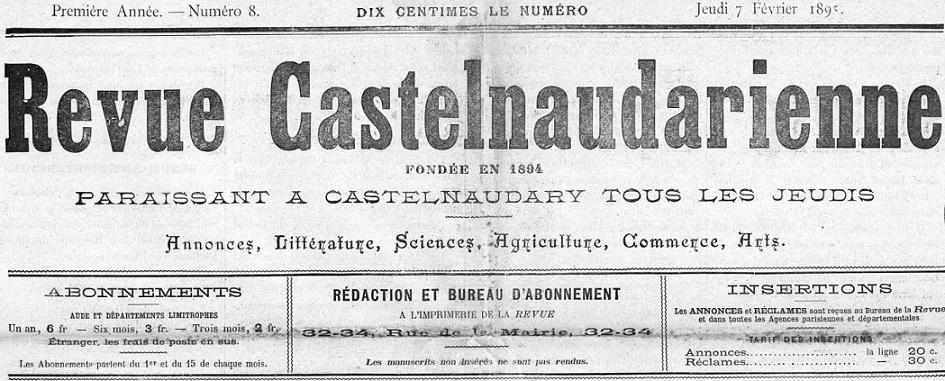 Photo (Occitanie) de : Revue castelnaudarienne. Castelnaudary, 1894-1929. ISSN 2137-2594.