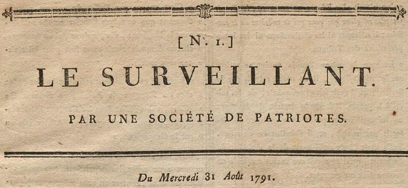 Photo (BnF / Gallica) de : Le Surveillant. Lyon, 1791-1792. ISSN 2138-4479.