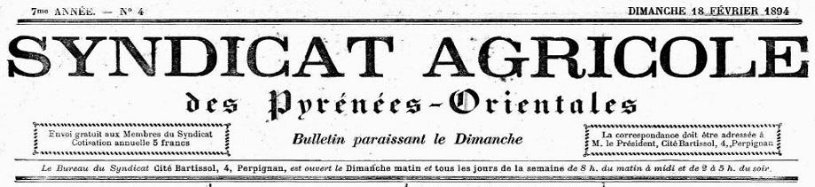 Photo (Occitanie 32874630) de : Bulletin paraissant le dimanche. Syndicat agricole des Pyrénées-Orientales [
