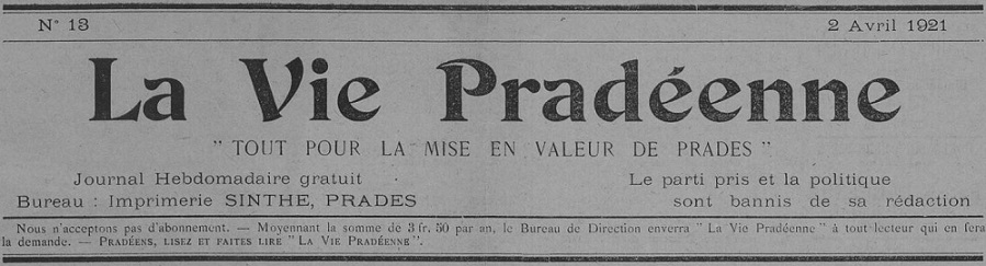 Photo (Occitanie) de : La Vie pradéenne. Prades, 1921-1922. ISSN 2139-9883.