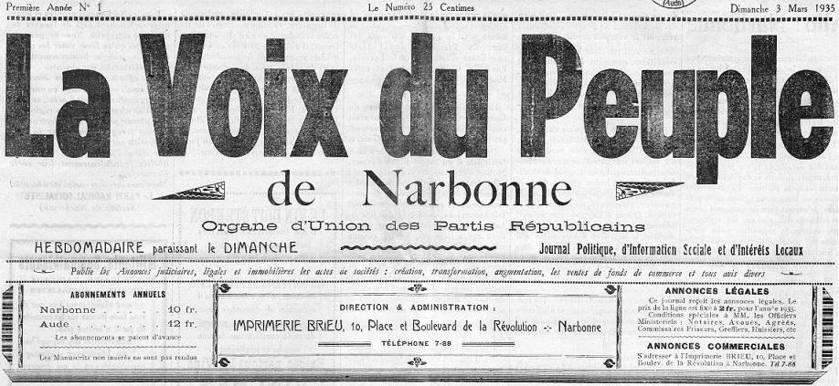 Photo (Occitanie) de : La Voix du peuple de Narbonne. Narbonne, 1935. ISSN 2140-2736.