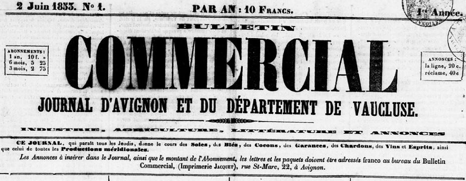 Photo (BnF / Gallica) de : Bulletin commercial. Avignon, 1853. ISSN 1267-527X.