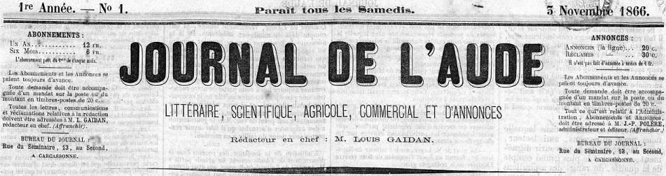 Photo (Occitanie) de : Journal de l'Aude. Carcassonne, 1866-1867. ISSN 1963-9333.