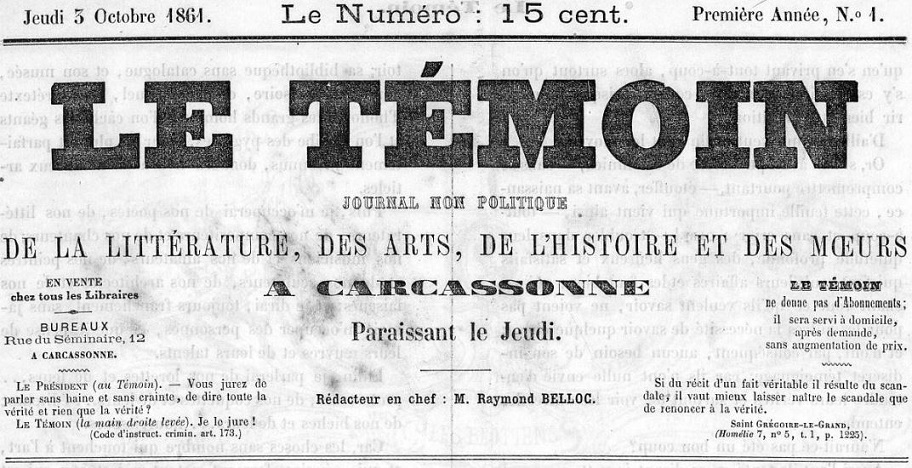 Photo (Occitanie) de : Le Témoin. Carcassonne, 1861-1862. ISSN 1963-9414.