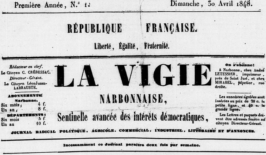 Photo (Occitanie) de : La Vigie narbonnaise. Narbonne, 1848. ISSN 1963-9430.