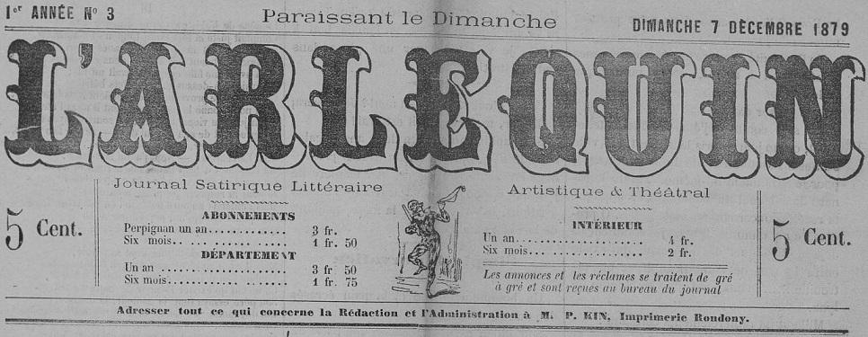 Photo (Occitanie) de : L'Arlequin. Perpignan, 1879-[1880 ?]. ISSN 1965-6351.