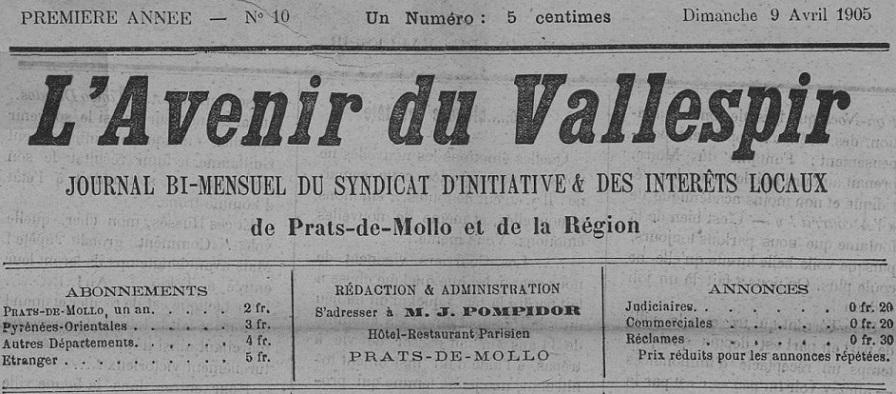 Photo (Occitanie) de : L'Avenir du Vallespir. Prats-de-Mollo, [1905 ?]. ISSN 1965-6378.