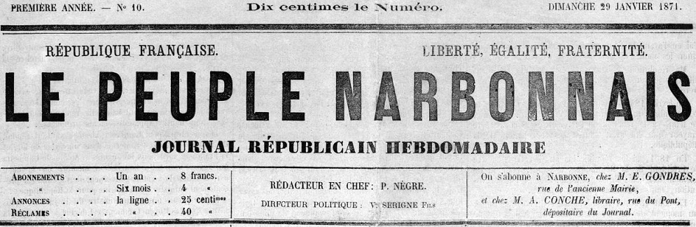 Photo (Occitanie) de : Le Peuple narbonnais. Narbonne, 1870-1871. ISSN 2680-7661.