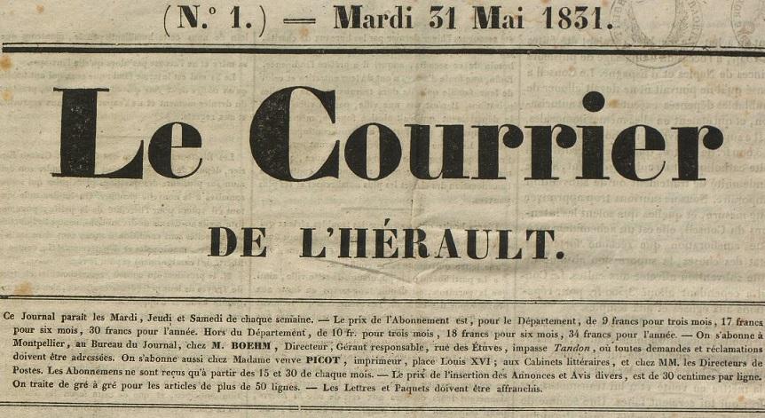 Photo (BnF / Gallica) de : Le Courrier de l'Hérault. Montpellier, 1831. ISSN 2108-0836.
